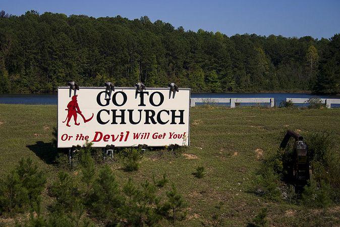 A billboard near the center of Alabama.